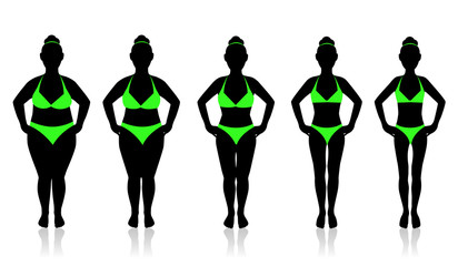 slimming woman in a swimsuit in different weights