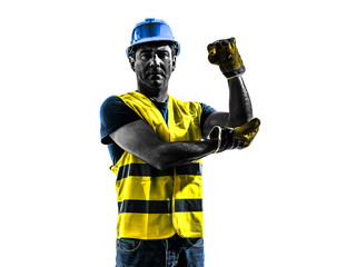 construction worker signaling safety vest use whipline silhouett