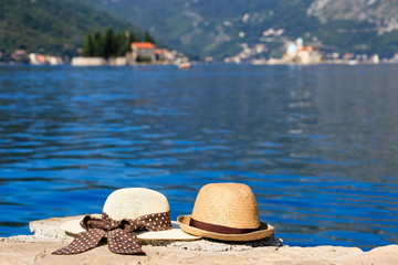 two hats on Montenegro vacation