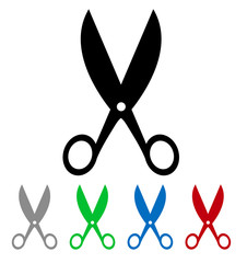 isolated colorful big and small scissors