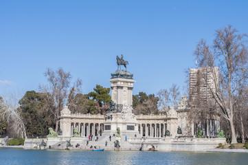 The Great Pond on Retiro Park in Madrid, Spain.