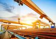Leinwanddruck Bild - Pier and bridge crane