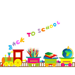 Back to school illustration with cartoon train