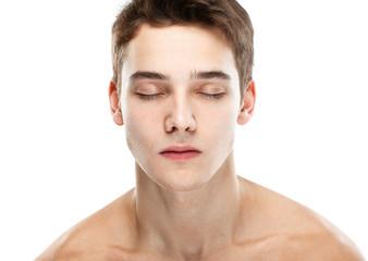 Naked man closed eyes