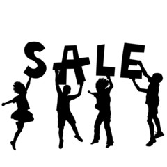 Children holding a sale message
