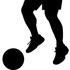 Man feet silhouette with ball