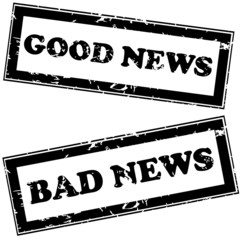 Rubber stamps with good news and bad news