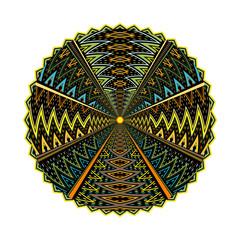 Round geometric motif isolated on white background