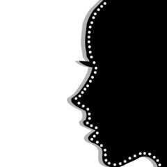 Stylized woman profile over white background