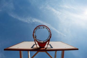 basketball hoop in blue sky