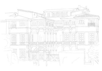 italian villa in Lucca - urban sketch