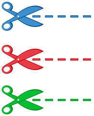 isolated colorful scissors and dotted line