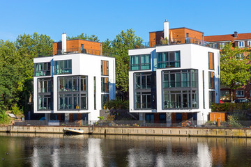 New houses at the waterside in Hamburg
