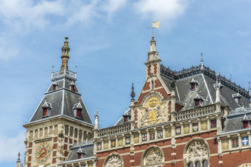 Amsterdam central railway station in Netherlands.
