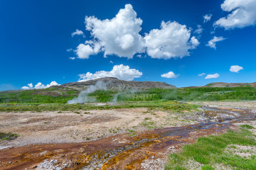 Landscape near famous Geysir area in Iceland