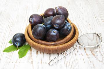 Fresh purple plums