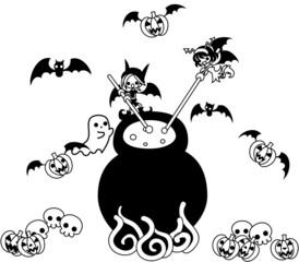 今日はハロウィン。悪魔の少年と少女が何やら怪しい薬をグツグツと煮込んでいます。