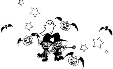 ハロウィンの魔法を唱える魔法使いの少年と少女。