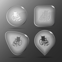 Invalid chair. Glass buttons. Vector illustration.