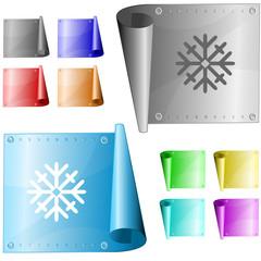 Snowflake. Vector metal surface.