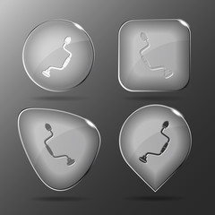 Hand drill. Glass buttons. Vector illustration.