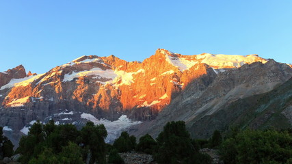 Sunrise in the mountains. Time Lapse, Pamir, Tajikistan