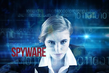Spyware against blue technology design with binary code