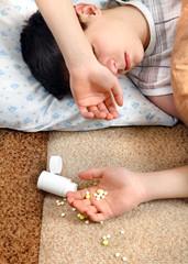 Teenager sleeps near the Pills