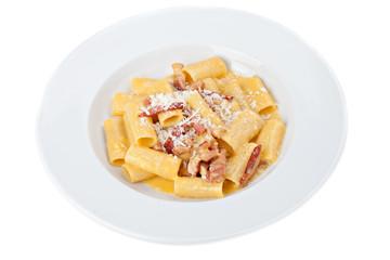 Iitalian rigatoni plate with prosciutto, parmesan cheese