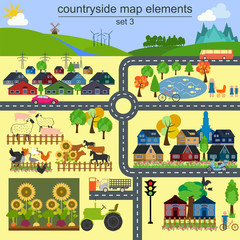 Contryside map elements for generating your own infographics, ma