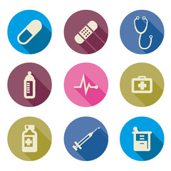 set of medical icons -Vector illustration flat