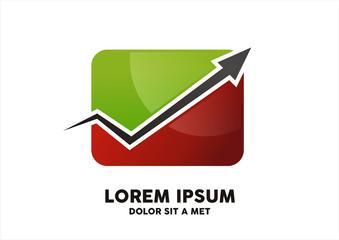 Finance Business arrow graph vector logo design template.