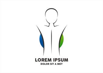 Sportsman silhouette blue green suplement logo vector