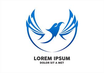 Eagle tattoo isolated blue logo design