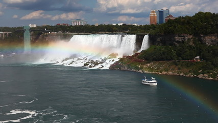 A panoramic view with rainbow of the American Falls, Niagara Fal