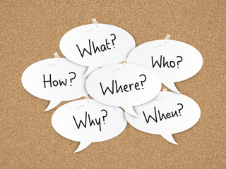 QUESTIONS CALLOUTS on CORKBOARD (speech bubble question)