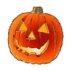 Scary Jack O Lantern halloween pumpkin with candle light inside