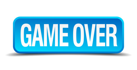 Game over blue 3d realistic square isolated button
