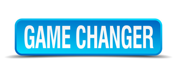 game changer blue 3d realistic square isolated button