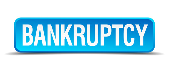 bankruptcy blue 3d realistic square isolated button