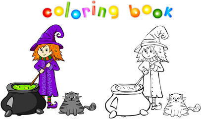 Witch cooking a potion in a cauldron Coloring book