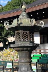 Japanese oriental iron garden lantern in Kyoto, Japan