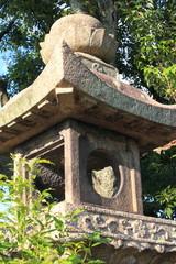 Japanese oriental stone garden lantern in Kyoto, Japan