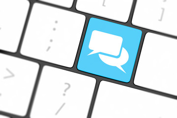 Social media key with two speech bubble sign on the keyboard
