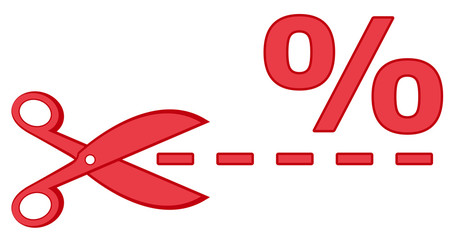 red scissors with percentage and dotted line