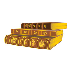 Three old leather-bound books vintage vector