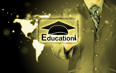 business man pointing 'education' concept