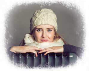 blond woman in winter