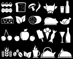set food objects on black background