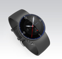 Black smart watch with OLED display isolated on gray background
